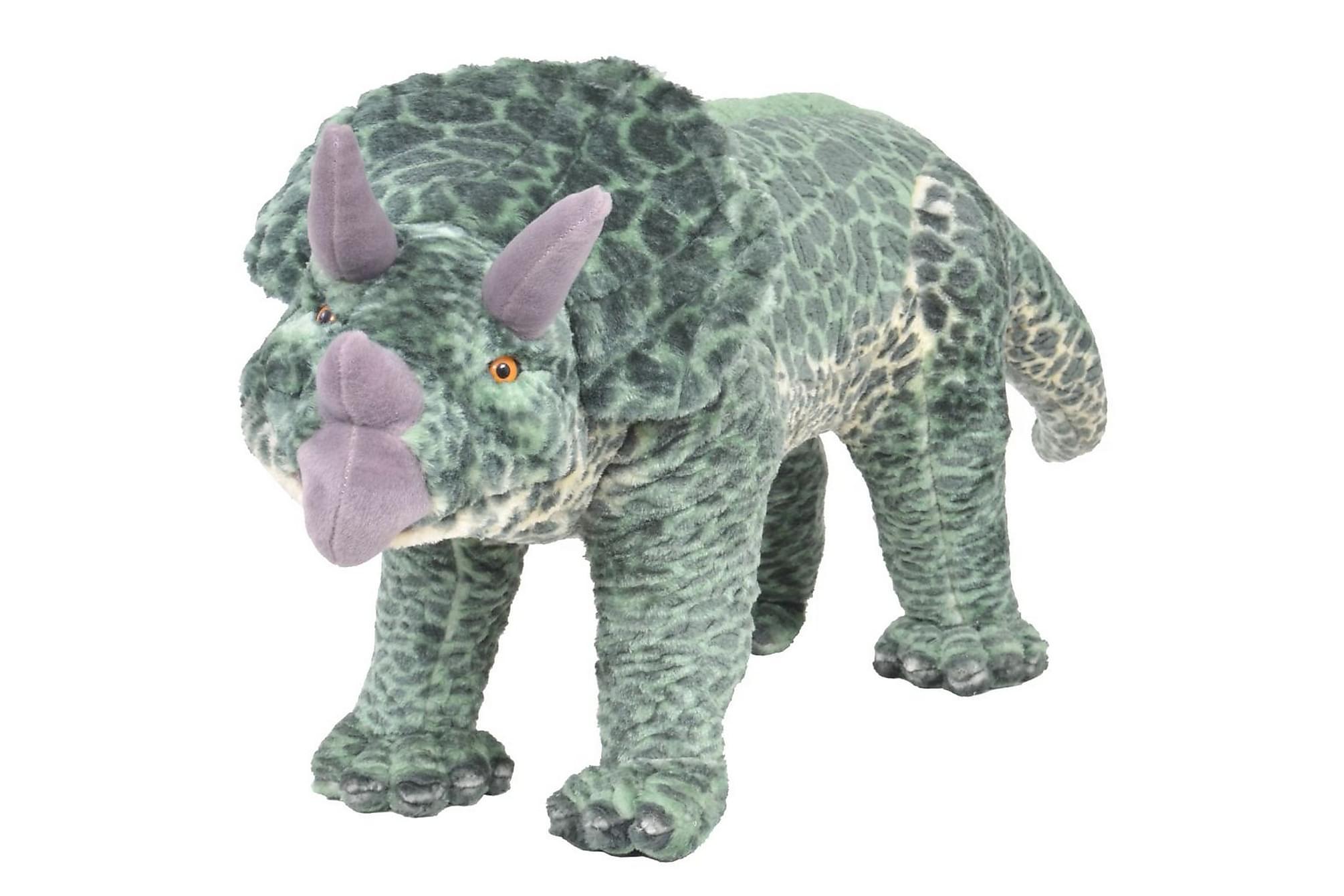 Stående leksaksdinosaurie triceratops plysch grön XXL