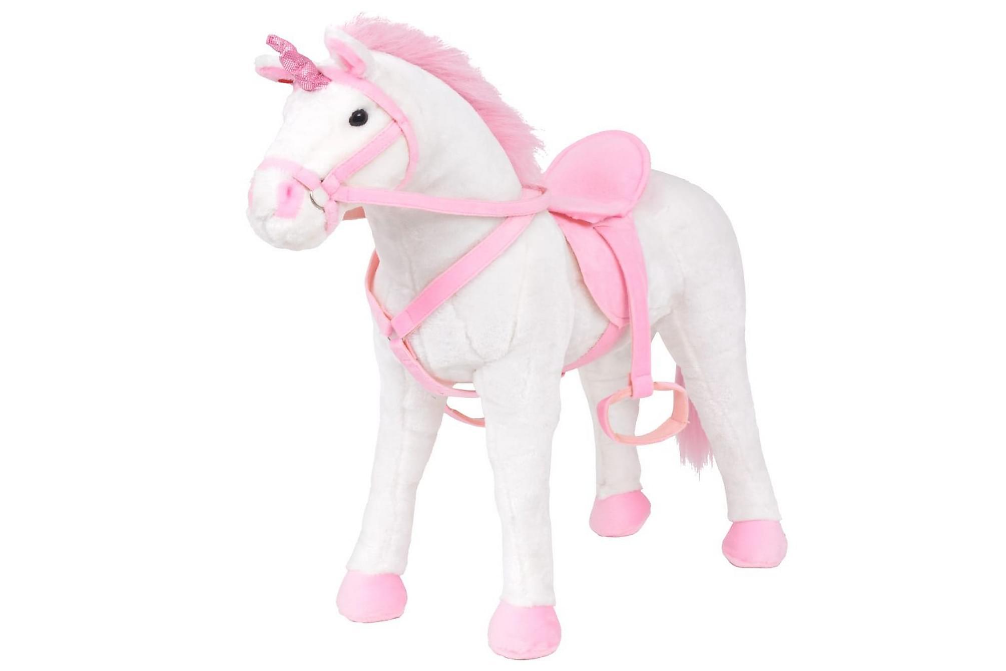 Stående leksaksenhörning plysch vit och rosa XXL