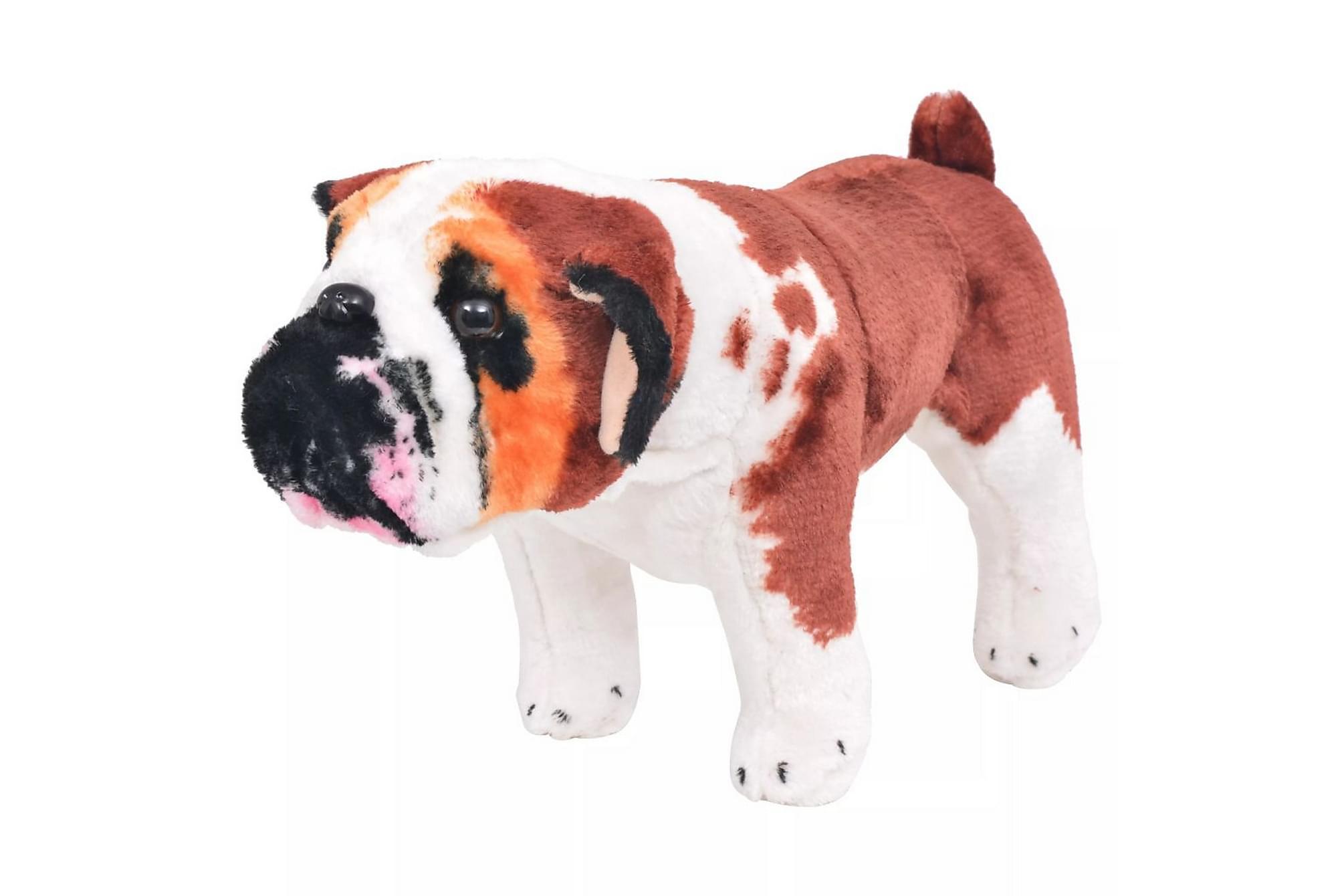 Stående leksakshund bulldog plysch vit och brun XXL
