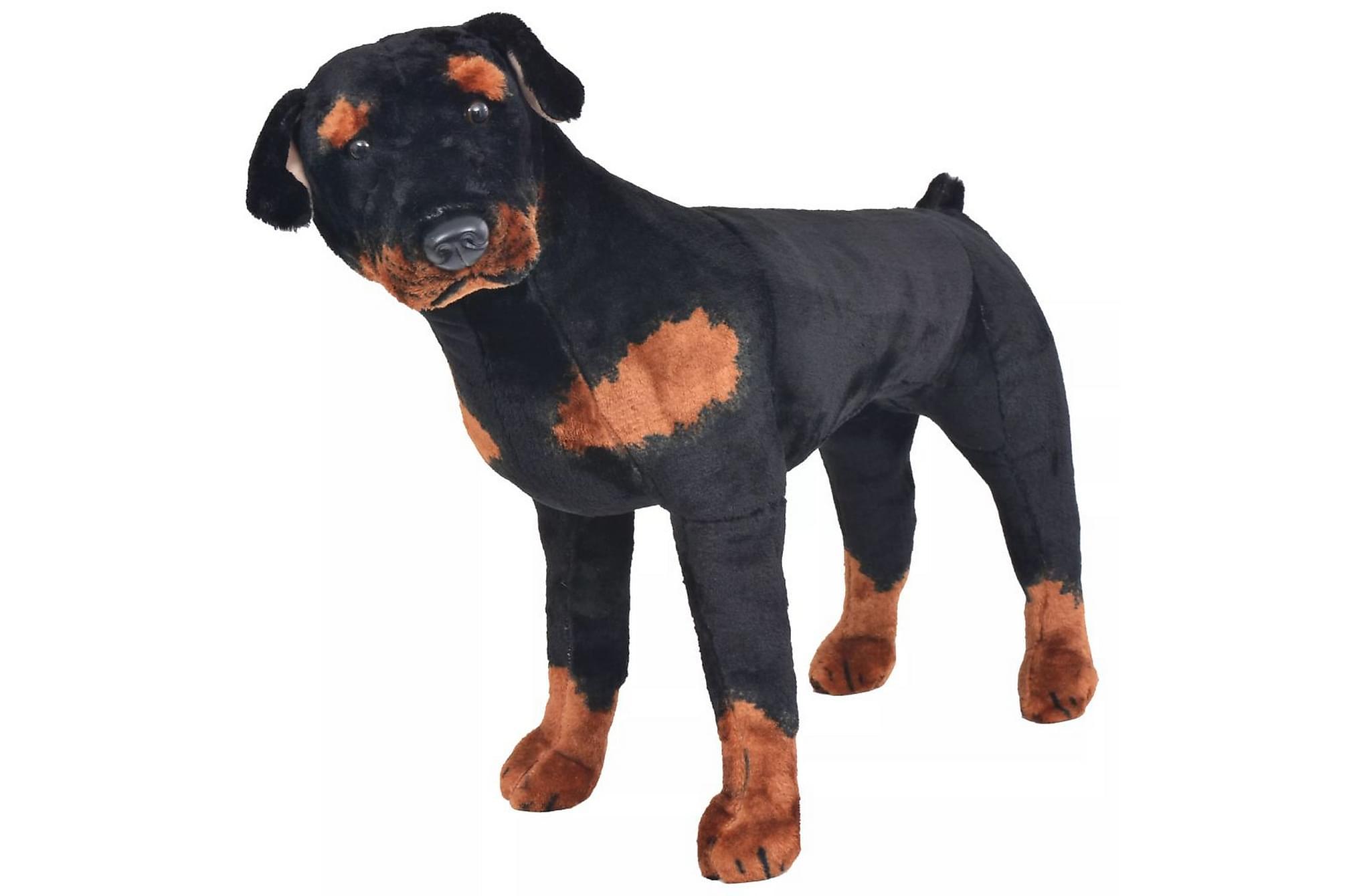 Stående leksakshund rottweiler plysch svart och brun XXL