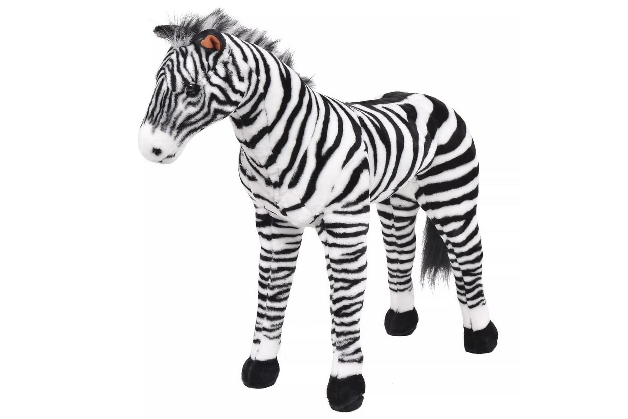 Stående leksakszebra plysch svart och vit XXL