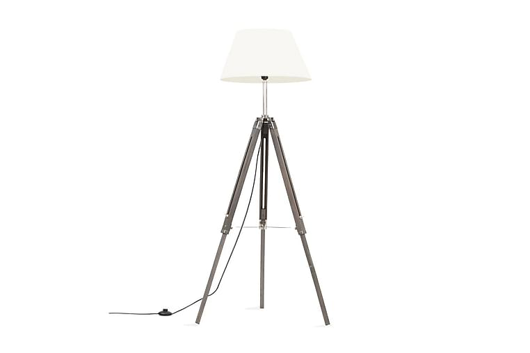 Golvlampa grå och vit massivt teakträ 141 cm - Grå - Möbler & Inredning - Belysning - Golvlampor