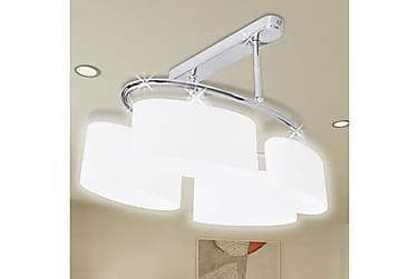 BONNETT Taklampa Ellips 4 Lampor Vit/Krom