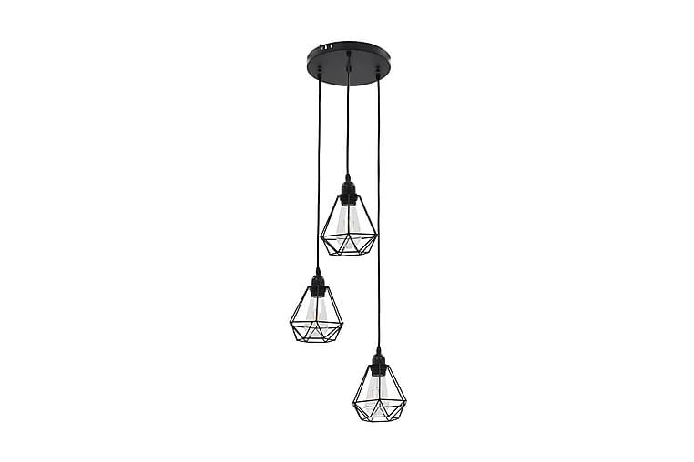 Taklampa med diamantdesign svart 3xE27-lampa - Svart - Möbler & Inredning - Belysning - Taklampor