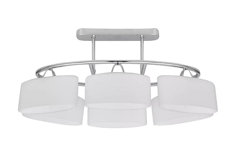 Taklampa med elipsoida glaskupor för 6 E14-lampor - Vit - Möbler & Inredning - Belysning - Taklampor