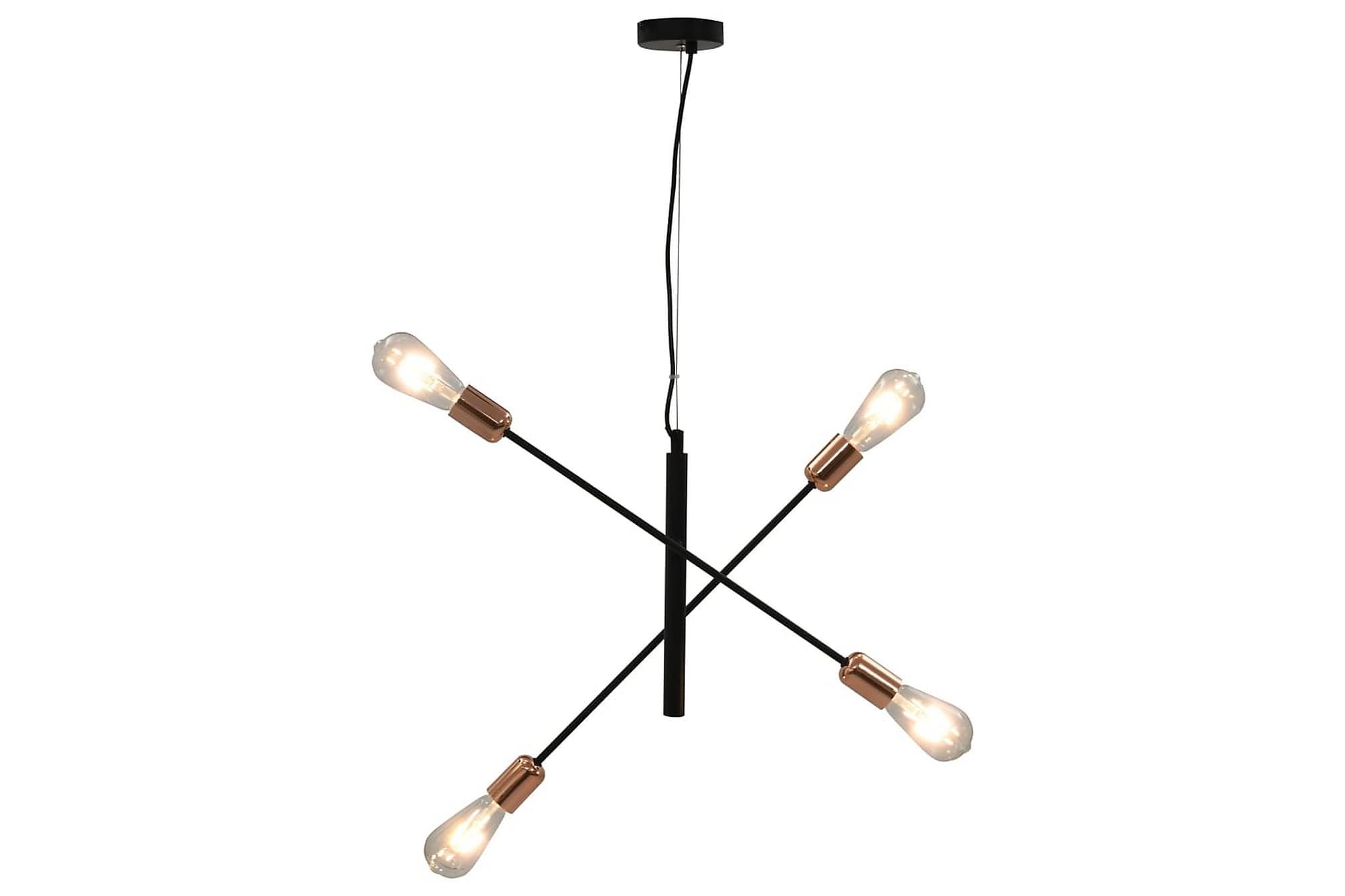 Taklampa med glödlampor 2 W svart och koppar E27, Taklampor