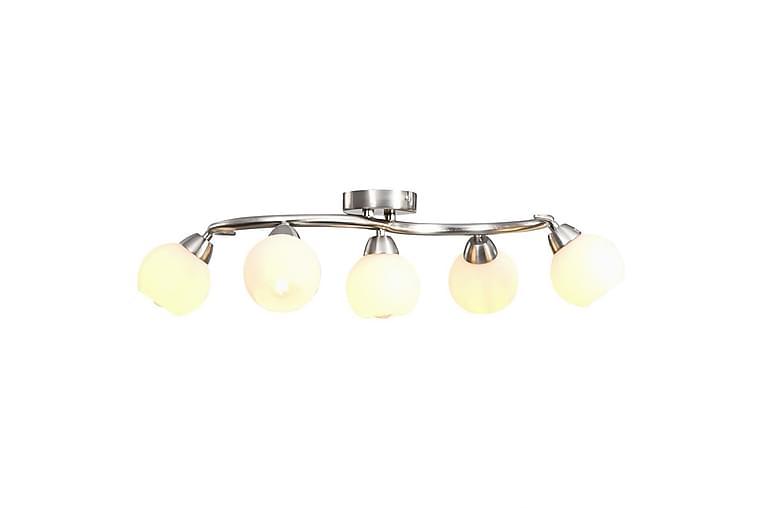 Taklampa med keramikskärmar för 5 E14-lampor vit klot - Vit - Möbler & Inredning - Belysning - Taklampor