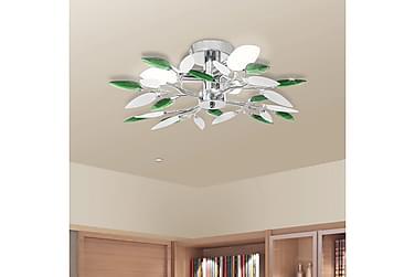 TAKLAMPA med kristallöv 3 E14 glödlampor vit & grön