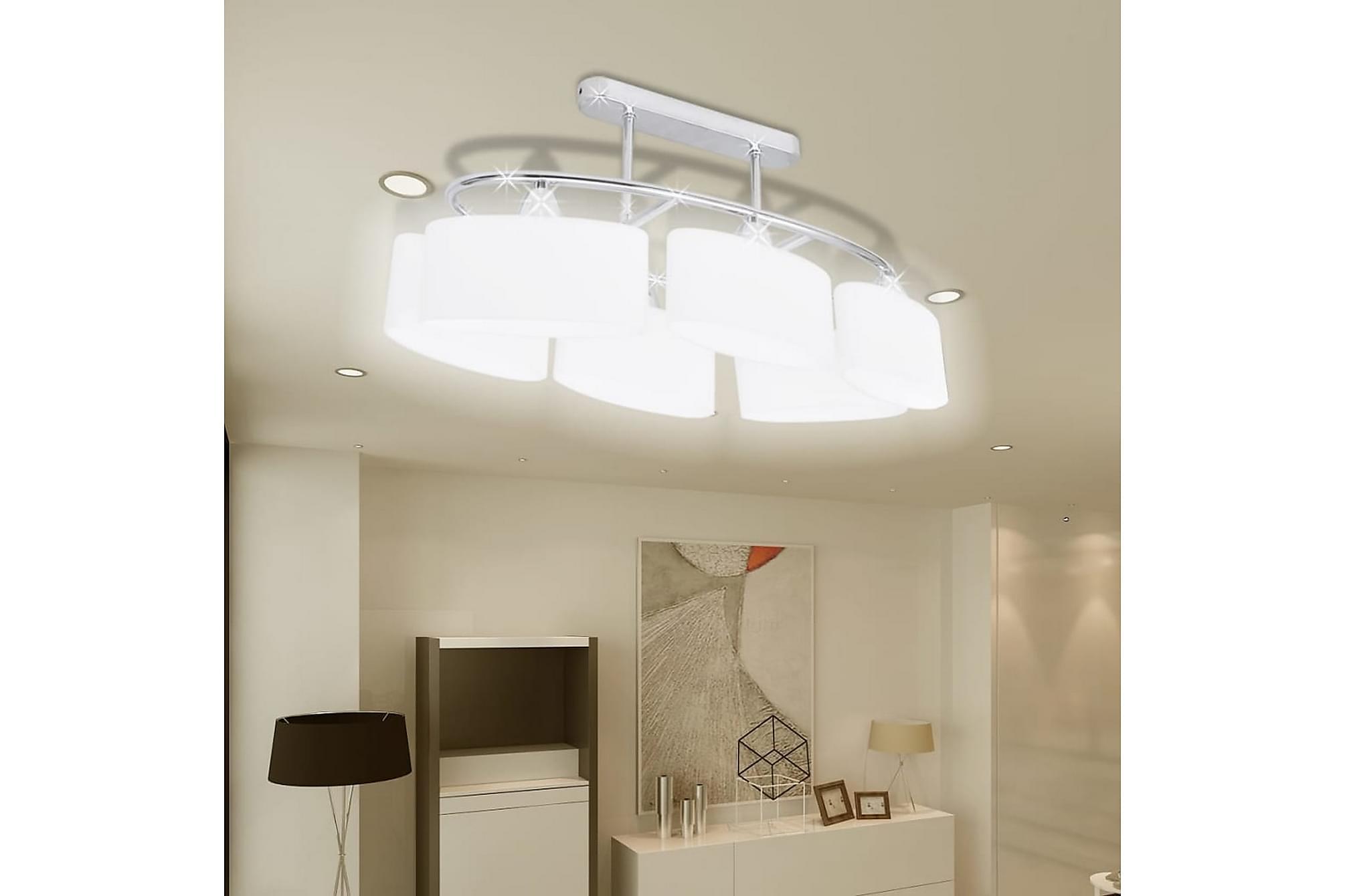Taklampa med ovala glasskärmar 4 st E14