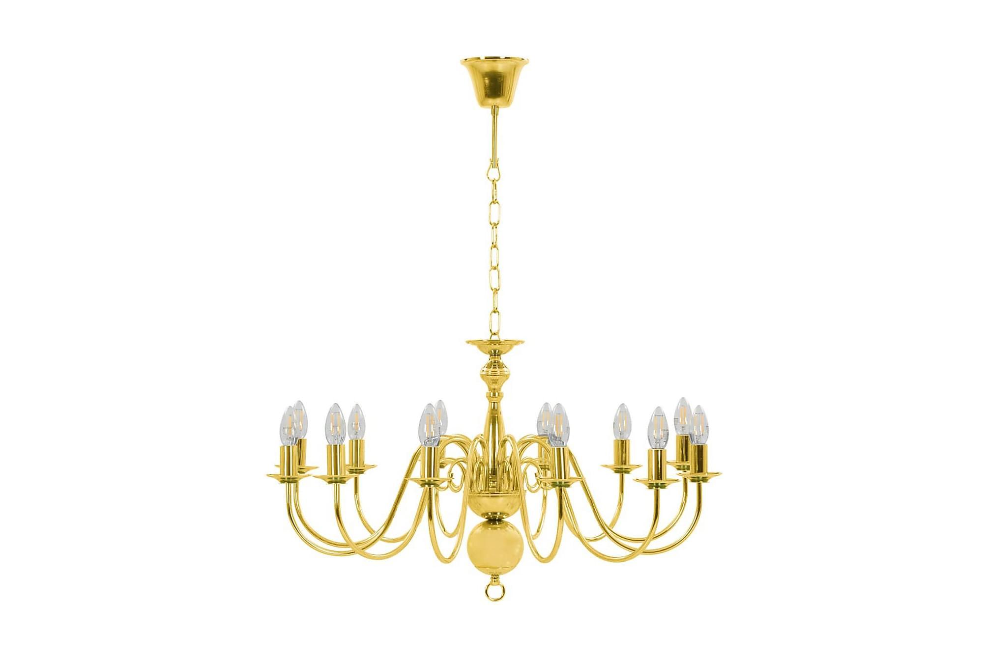 Takkrona guld 12 x E14-glödlampor, Taklampor