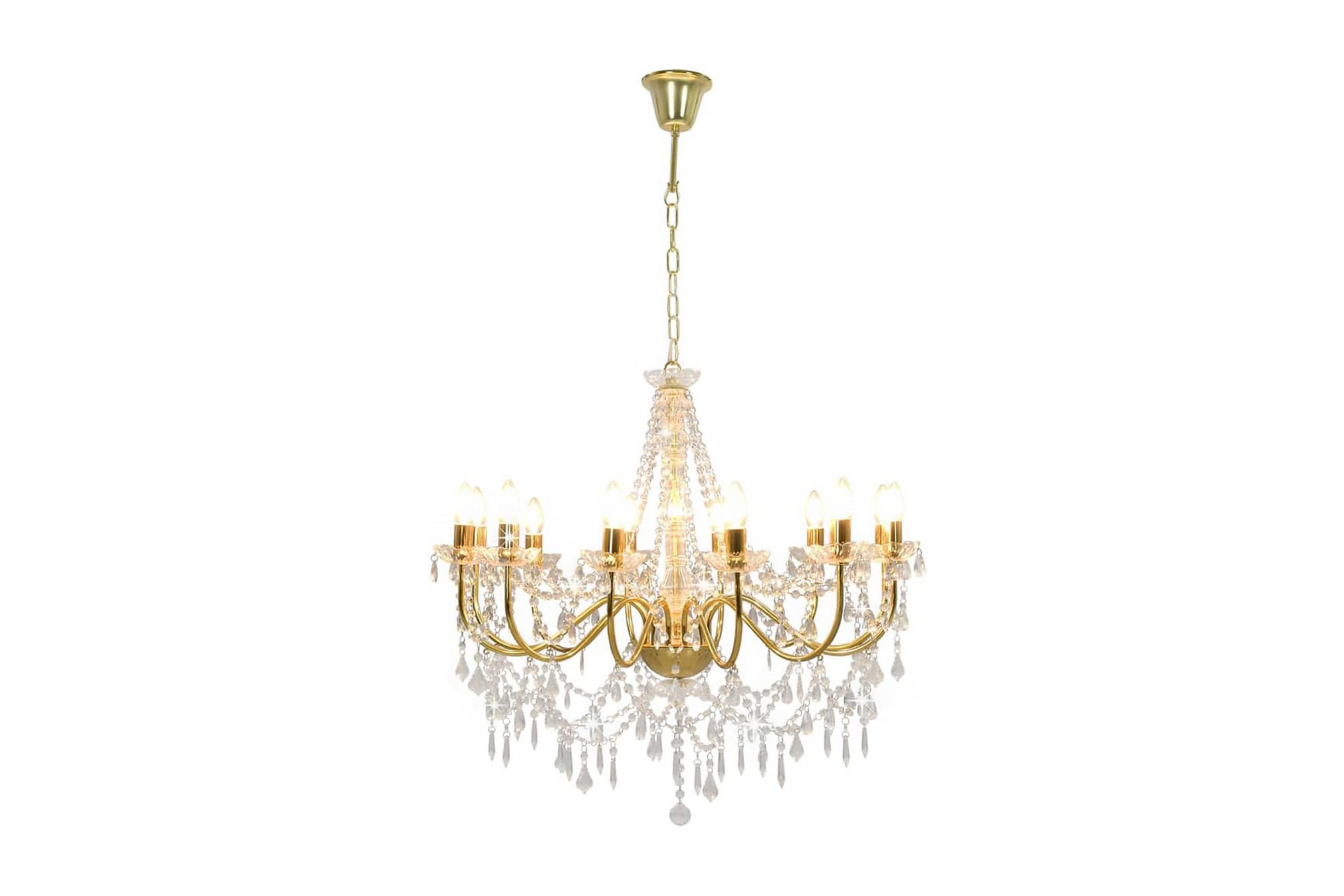 Takkrona med pärlor guld 12 x E14-glödlampor, Taklampor