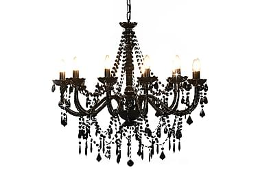 Takkrona med pärlor svart 8 x E14-glödlampor