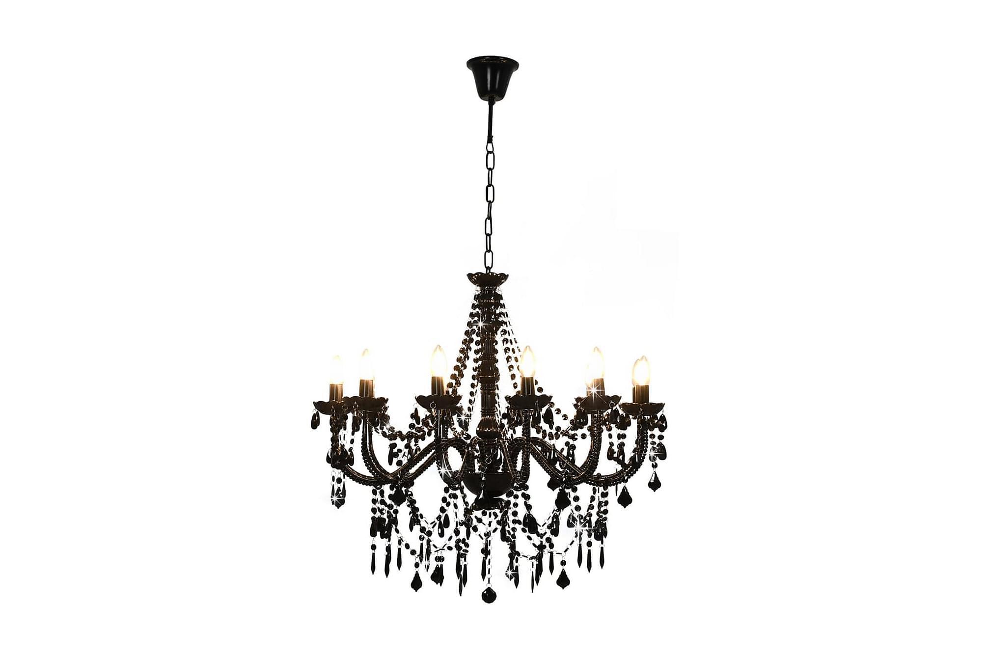 Takkrona med pärlor svart 12 x E14-glödlampor, Taklampor