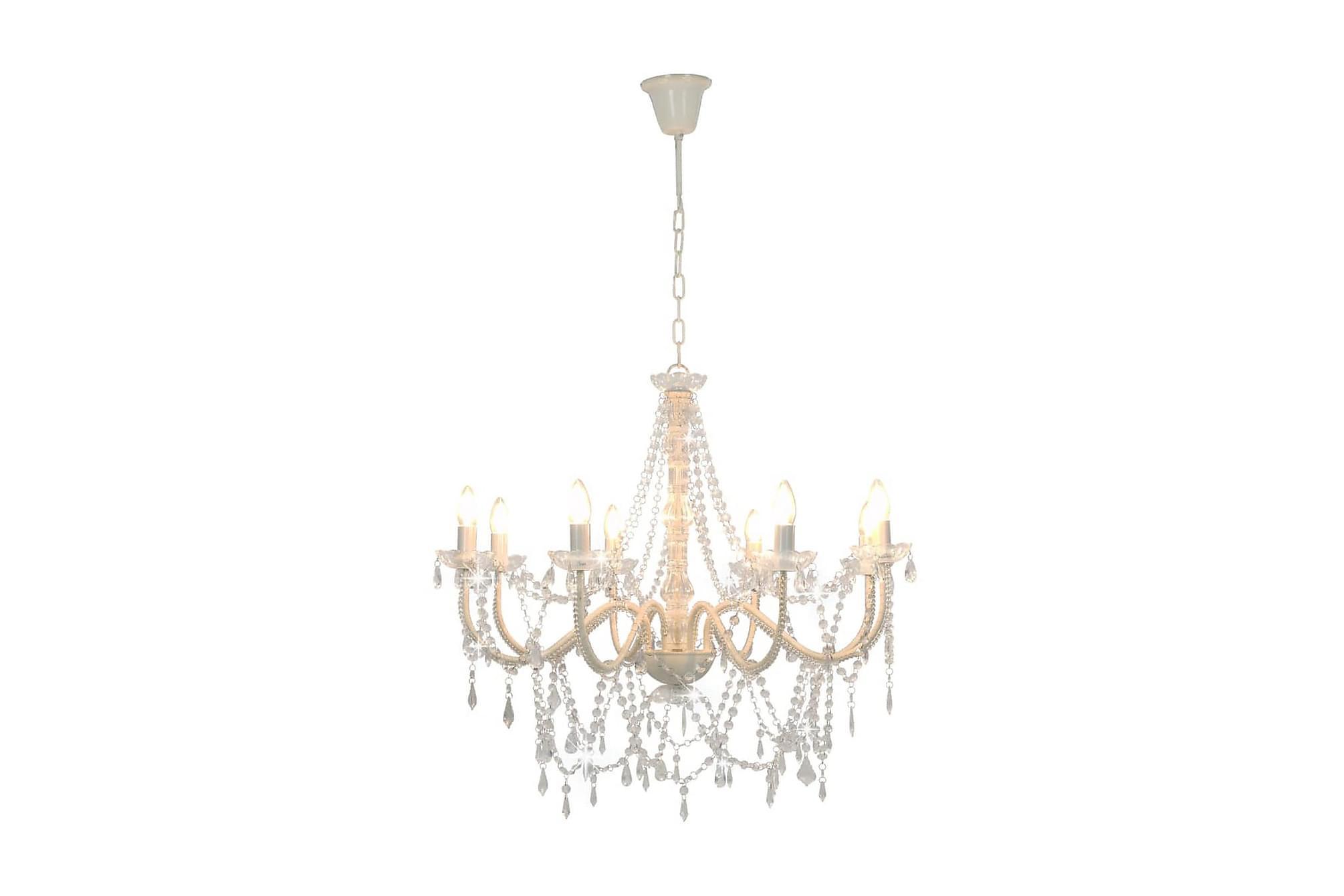 Takkrona med pärlor vit 8 x E14-glödlampor, Taklampor