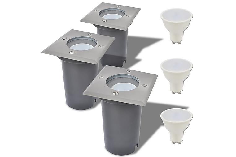 Marklampa med LED 3 st fyrkantiga - Silver - Möbler & Inredning - Belysning - Utomhusbelysning