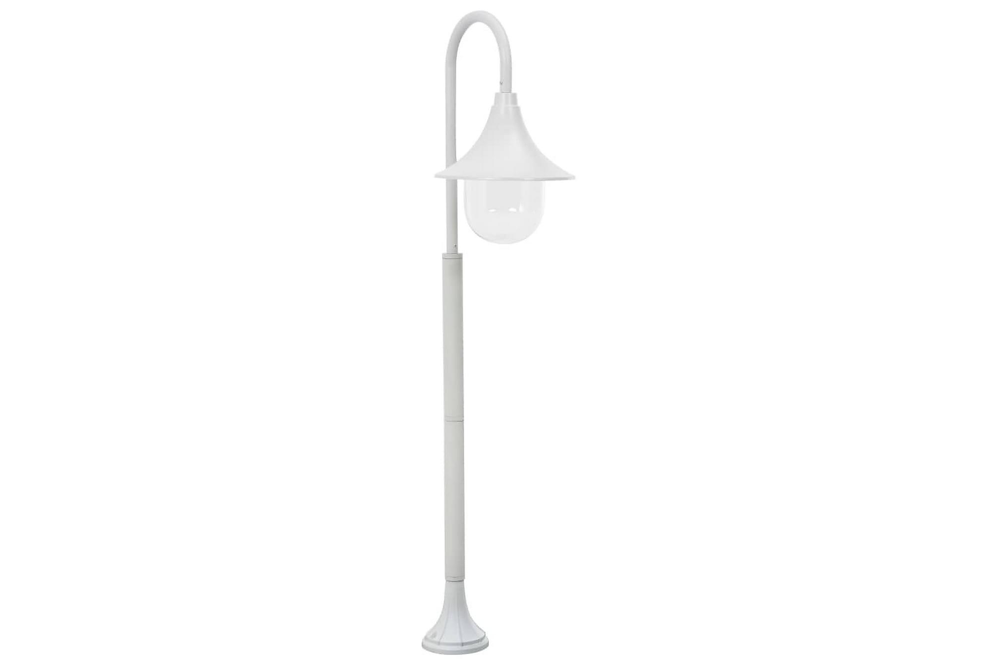 Lyktstolpe för trädgård E27 120 cm aluminium vit