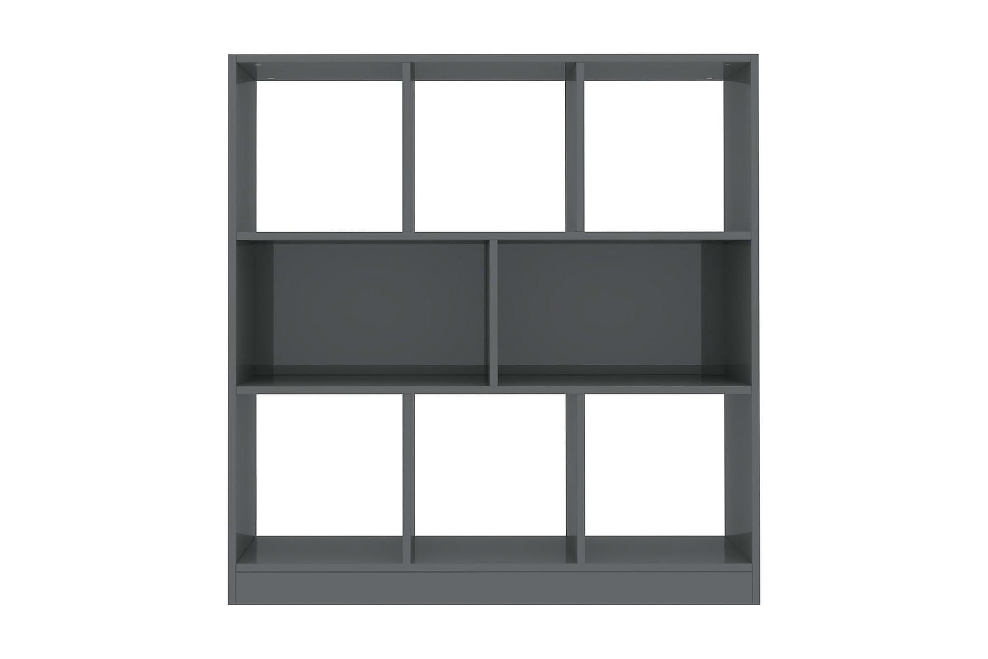 Bokhylla högglans grå 97,5x29,5x100 cm spånskiva, Hyllor