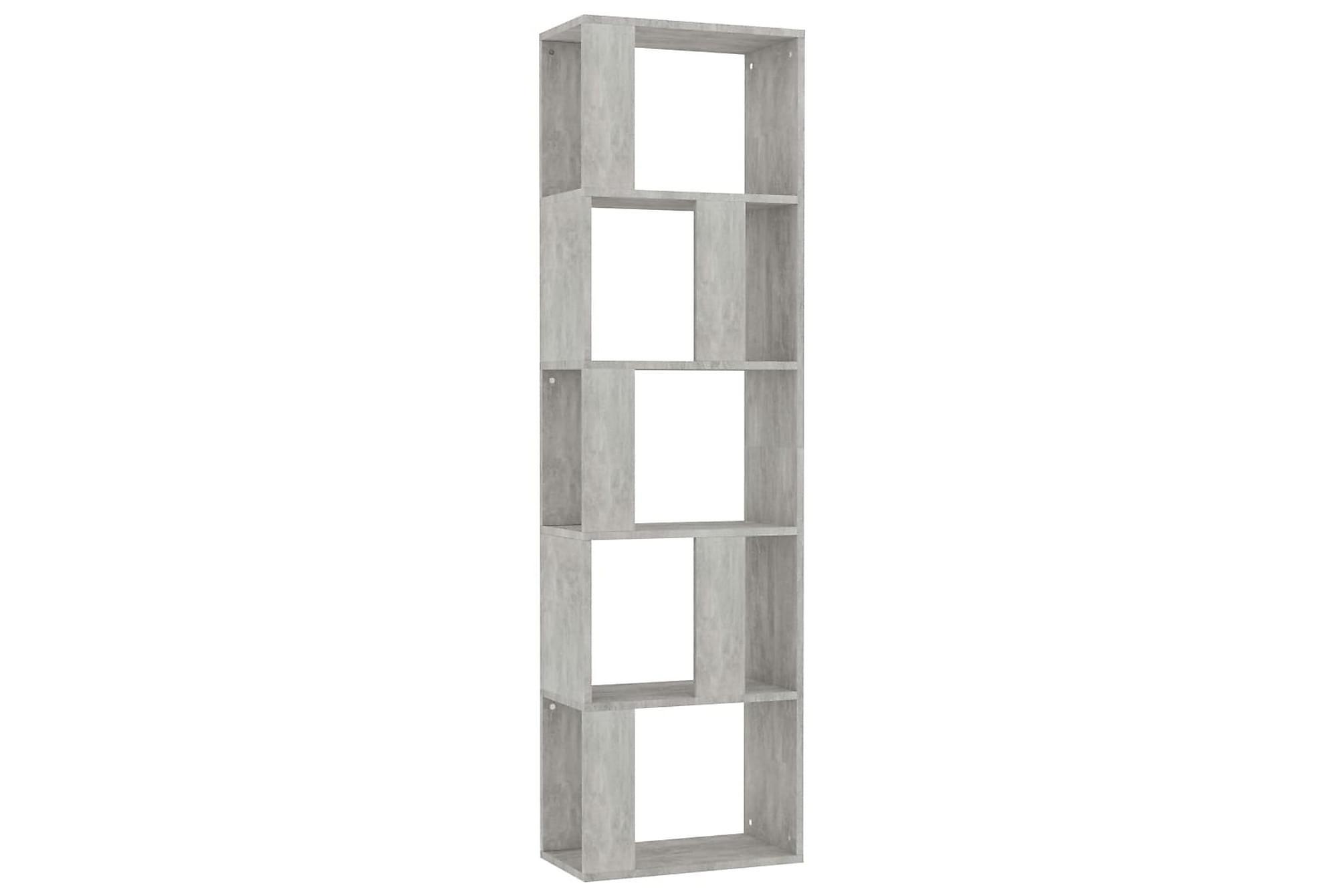 Bokhylla/Rumsavdelare betonggrå 45x24x159 cm spånskiva, Hyllor