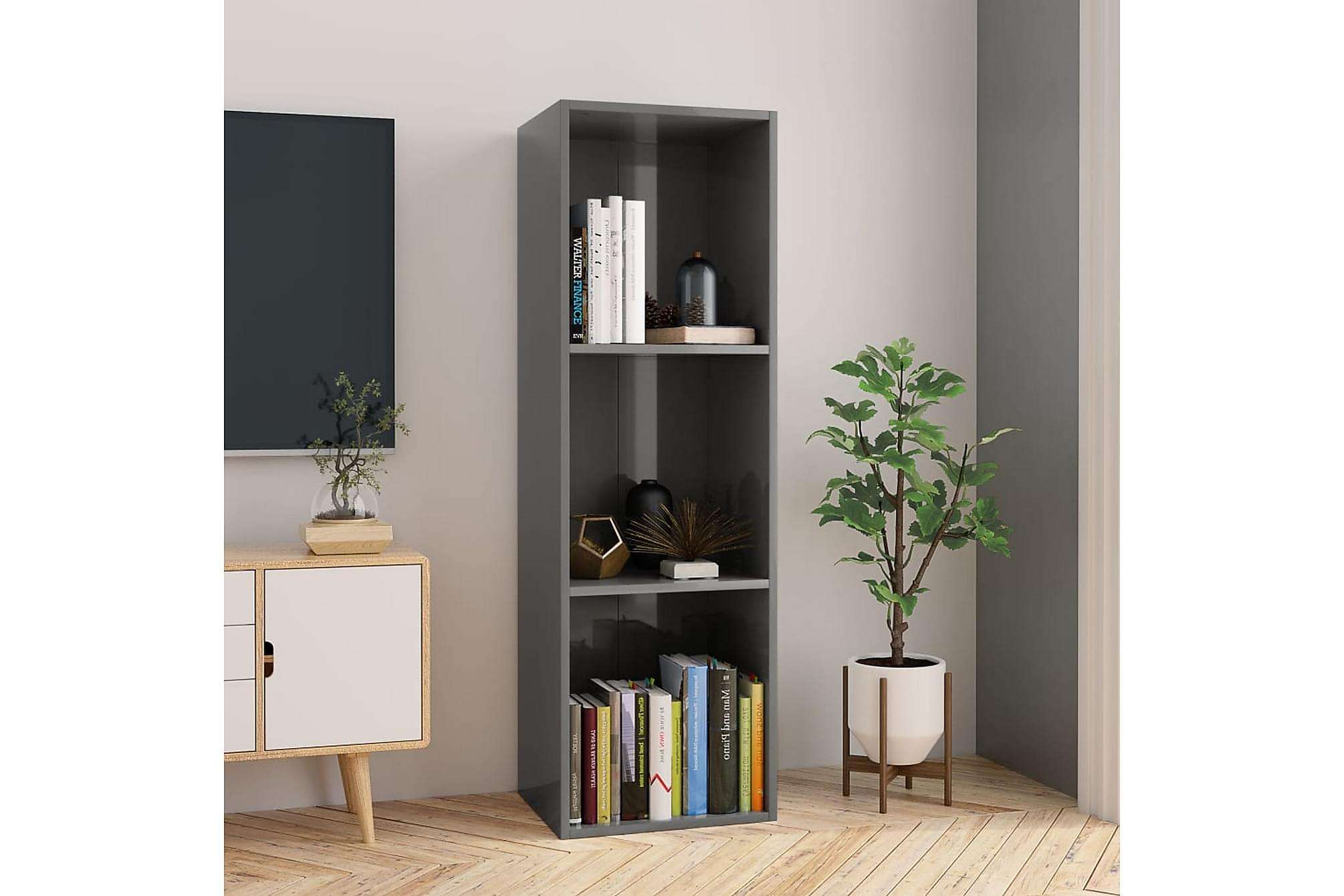 Bokhylla/TV-bänk grå högglans 36x30x114 cm spånskiva, Tv-bänkar
