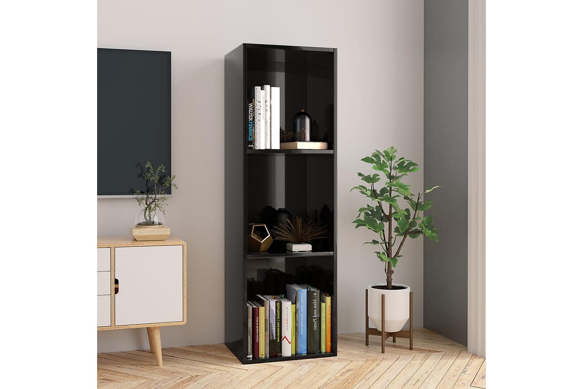 Bokhylla/TV-bänk svart högglans 36x30x114 cm spånskiva, Tv-bänkar