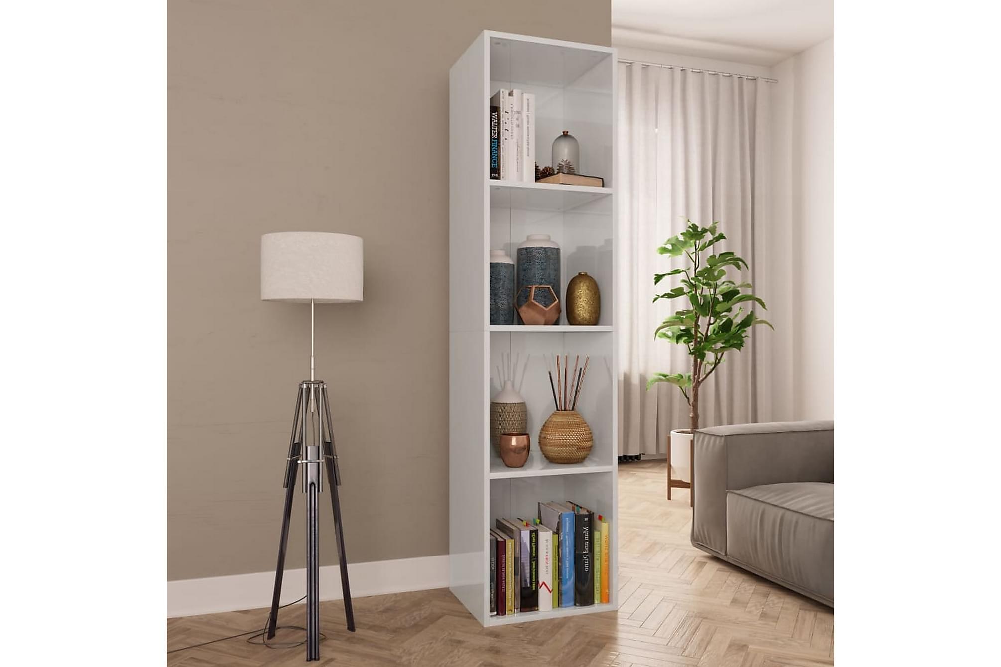 Bokhylla/TV-bänk vit högglans 36x30x143 cm spånskiva, Tv-bänkar