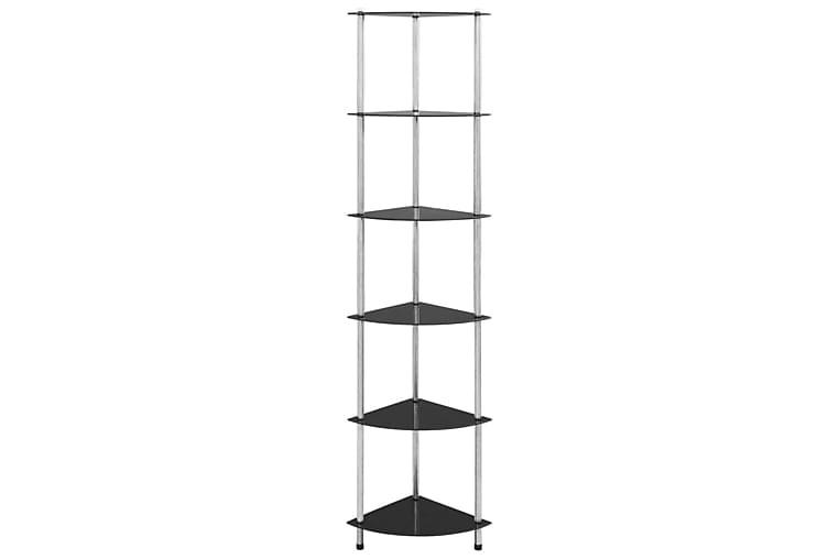 Hylla 6 hyllplan svart 30x30x160 cm härdat glas - Svart - Möbler & Inredning - Förvaring - Hyllor