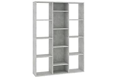 Rumsavdelare/bokhylla betonggrå 100x24x140 cm spånskiva