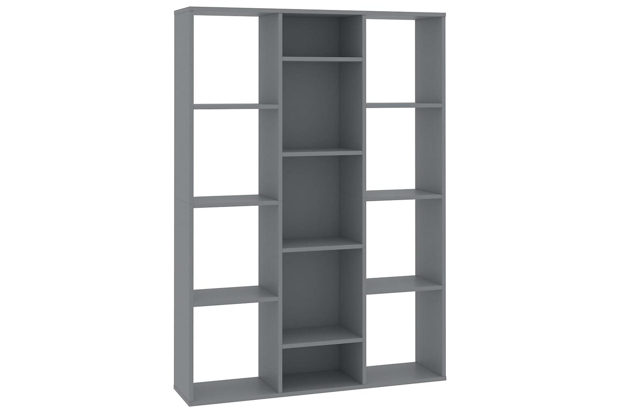 Rumsavdelare/bokhylla grå 100x24x140 cm spånskiva