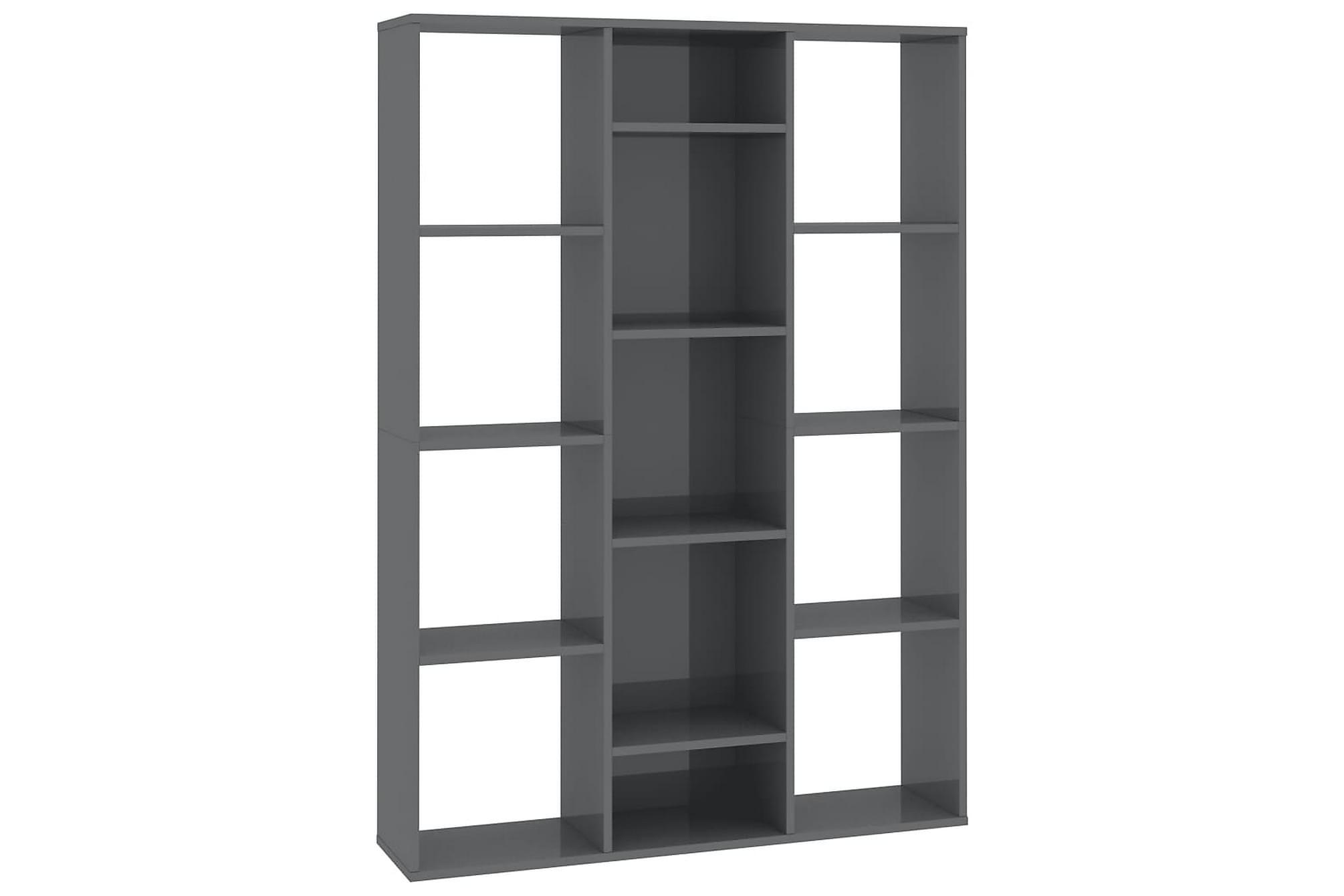 Rumsavdelare/bokhylla grå högglans 100x24x140 cm spånskiva