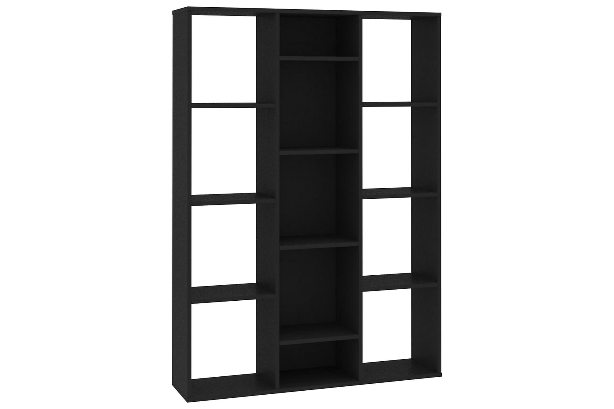 Rumsavdelare/bokhylla svart 100x24x140 cm spånskiva