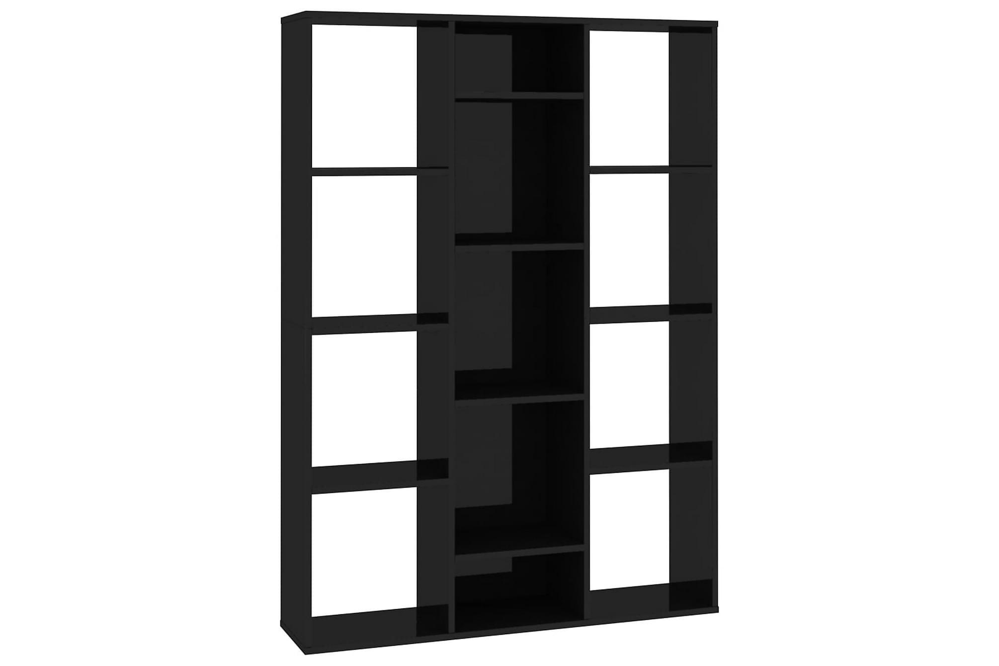 Rumsavdelare/bokhylla svart högglans 100x24x140 cm spånskiva