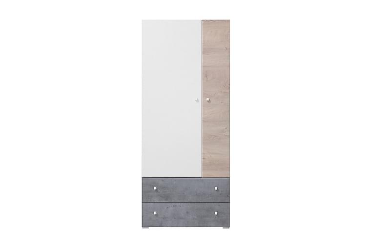 ANNFRED Garderob 80 cm Grå/Vit/Natur - Möbler & Inredning - Förvaring - Garderober