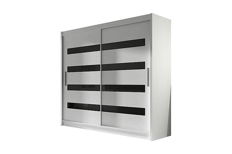 EMILIO Garderob 180x57x215 cm - Vit/Svart - Möbler & Inredning - Förvaring - Garderober