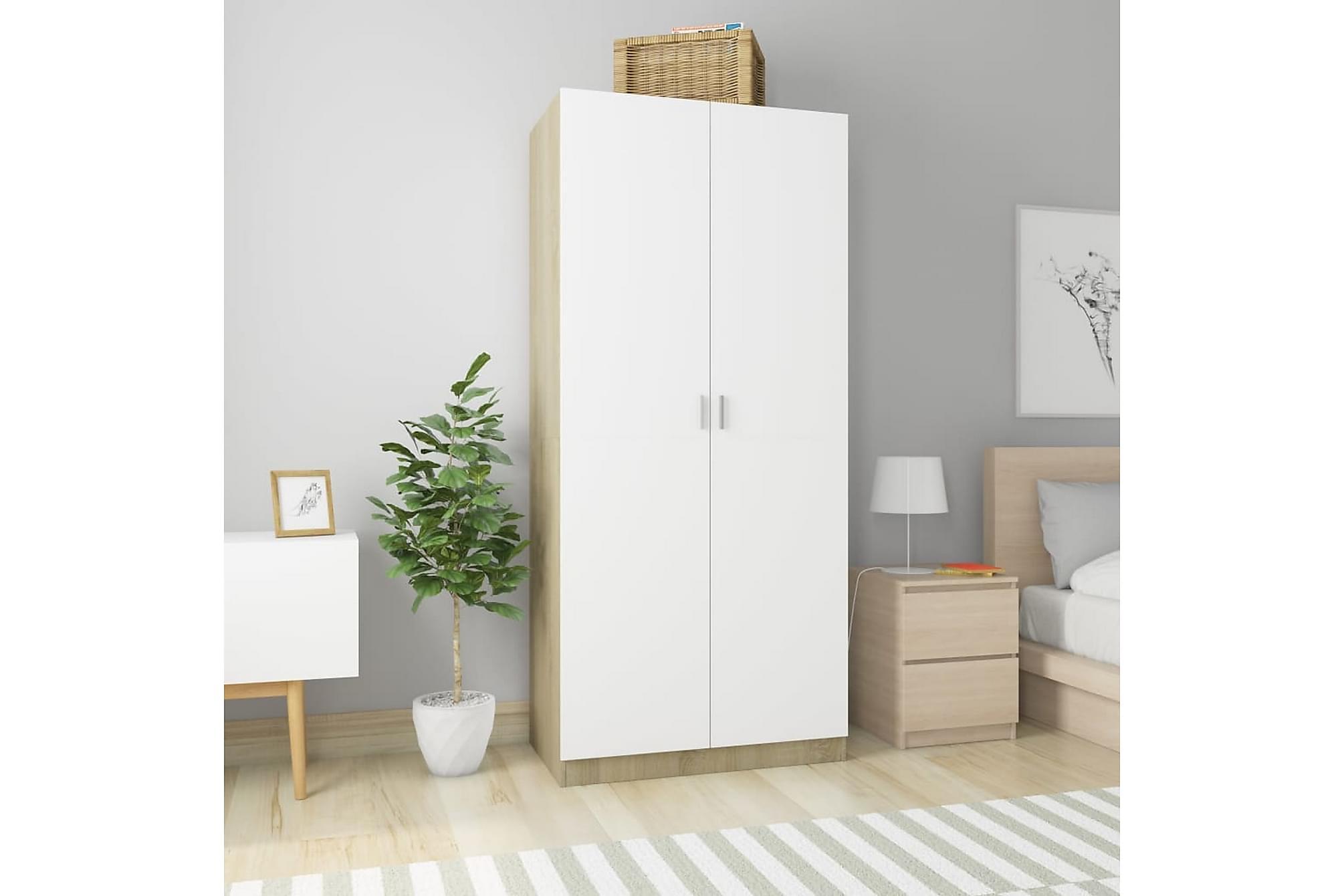 Garderob vit och sonoma-ek 90x52x200 cm spånskiva