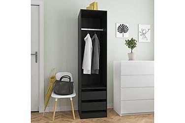 Garderob med lådor svart 50x50x200 cm spånskiva