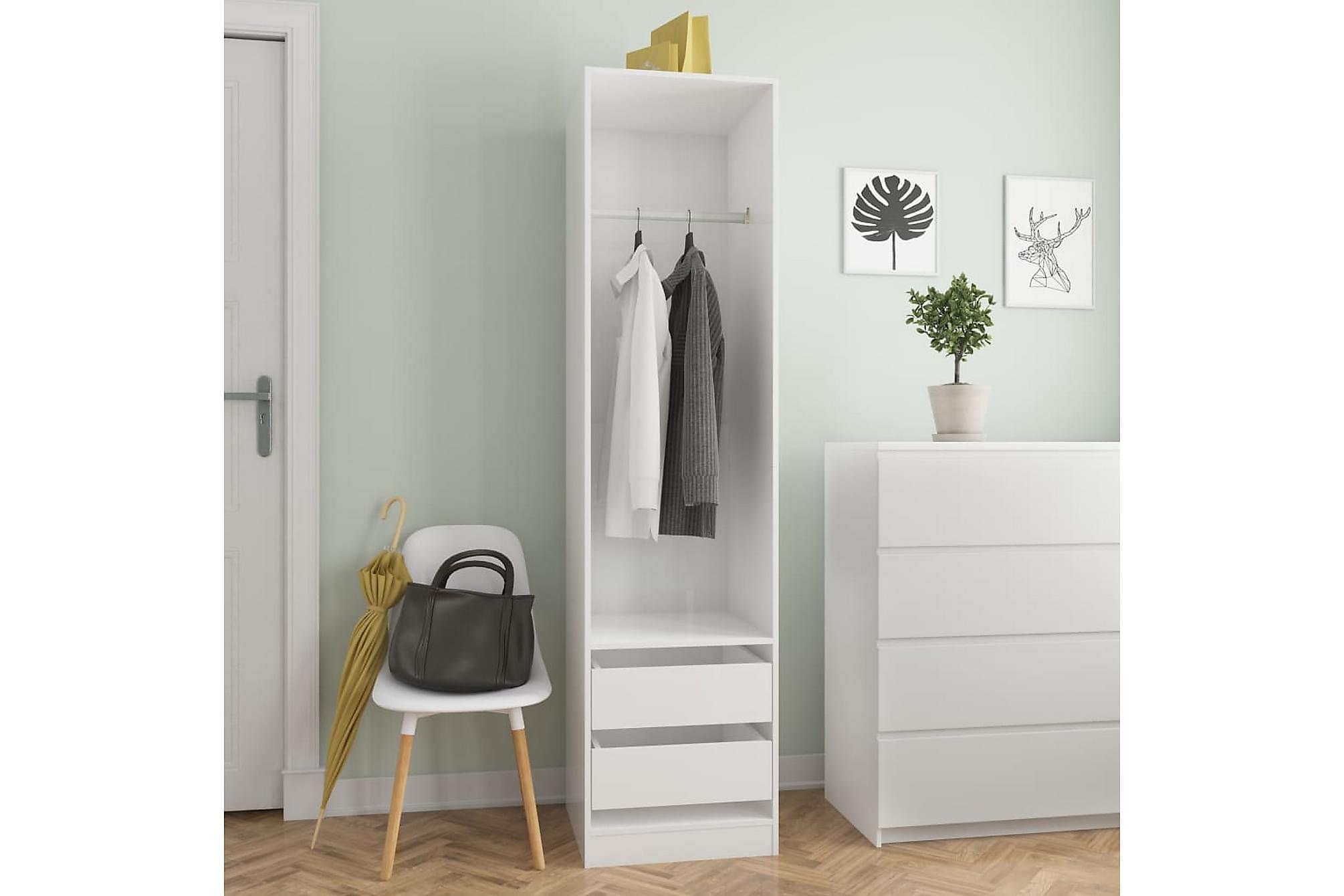 Garderob med lådor vit högglans 50x50x200 cm spånskiva