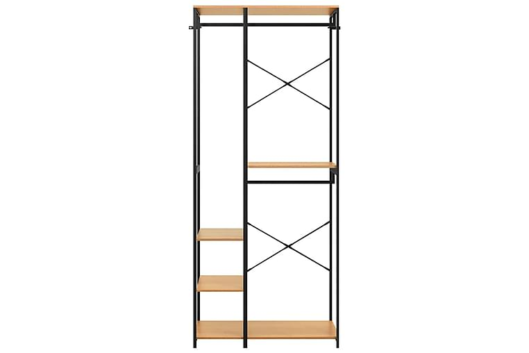 Garderob svart och ek 90x40x213 cm metall och spånskiva - Svart - Möbler & Inredning - Förvaring - Garderober
