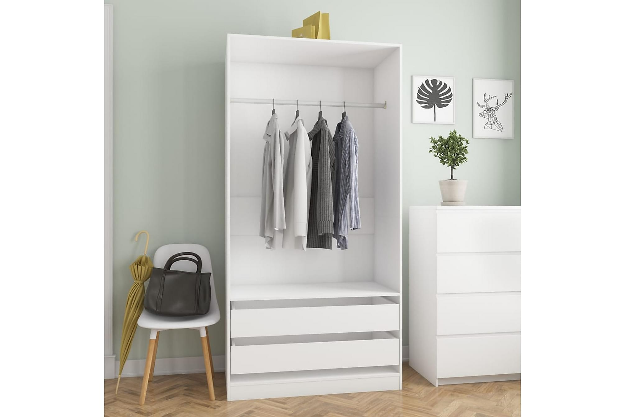 Garderob vit 100x50x200 cm spånskiva