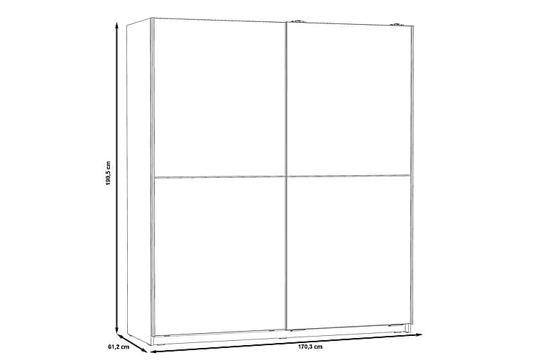 KENNIN Garderob 170x191 cm Brun/Vit - Möbler & Inredning - Förvaring - Garderober