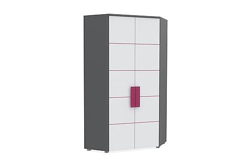 KINNOIR Hörngarderob 97 cm Grå/Vit/Lila, Garderober