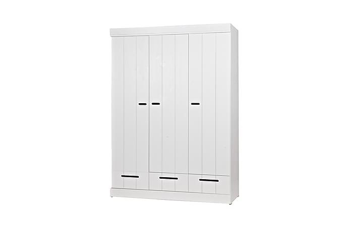 KOTONE Garderob 140 3 Dörrar 3 Lådor Vit Tall - Möbler & Inredning - Förvaring - Skåp