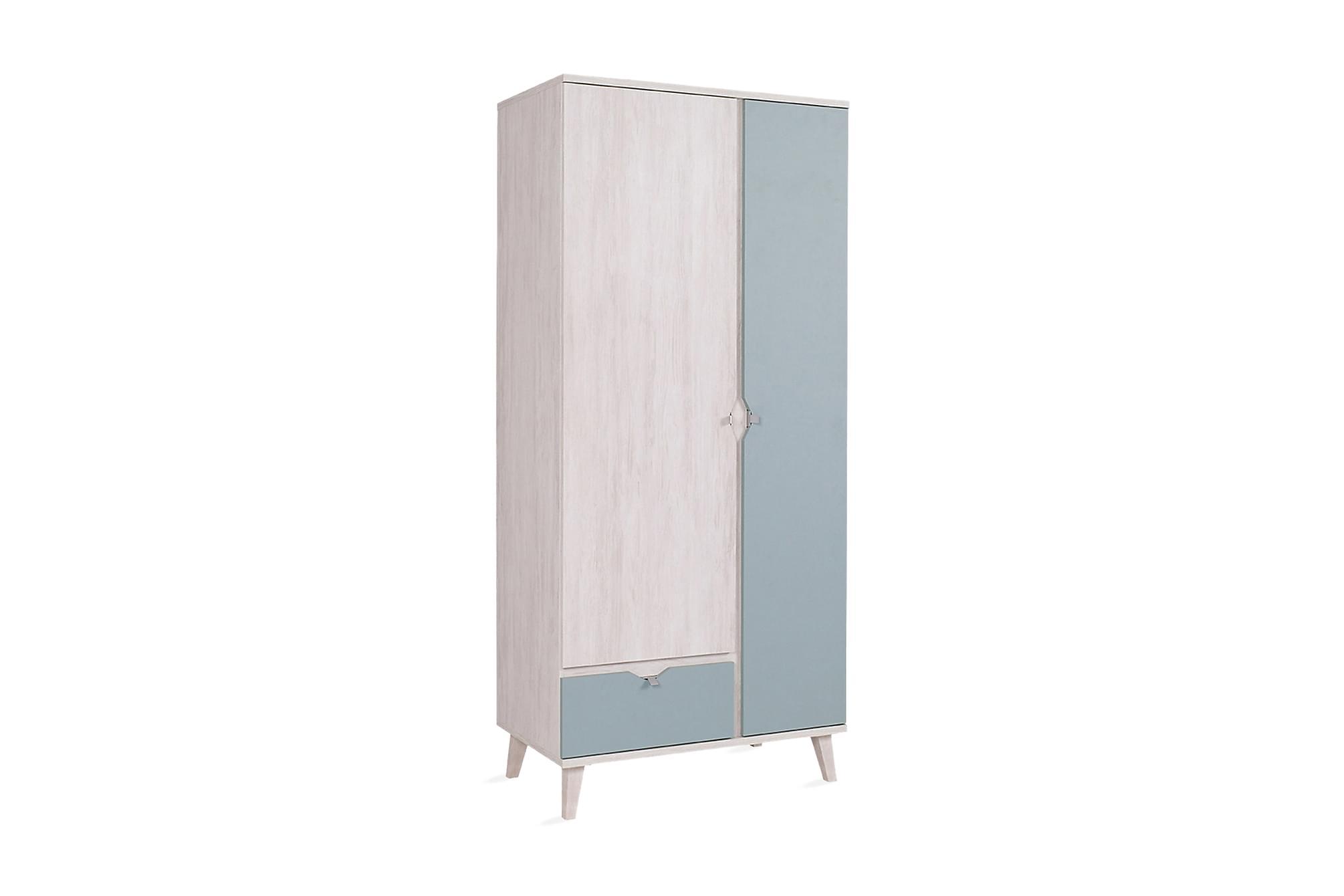 Norrhace garderob 90 vit/blå