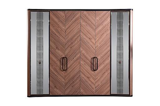 PINAR Garderob 260x67 cm med Spegel Natur/Svart, Garderober