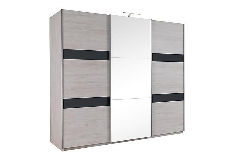 RARICK Garderob 250x68,5x215 cm - Grå/Svart - Möbler & Inredning - Förvaring - Garderober