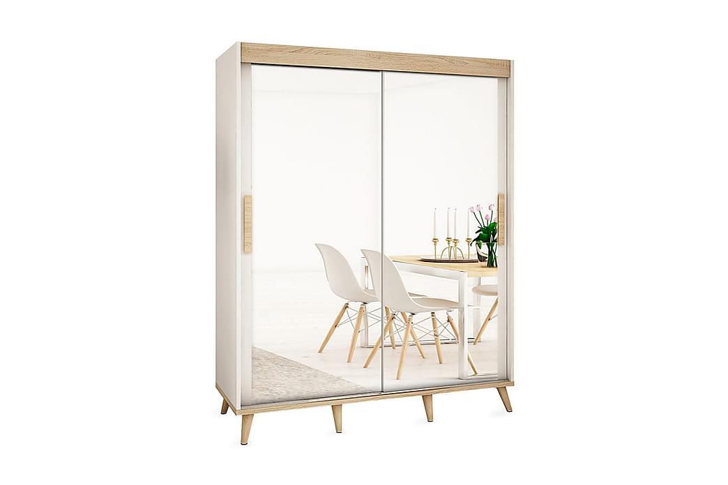 SKANDI Garderob 200x62x208 cm - Beige/Vit - Möbler & Inredning - Förvaring - Garderober