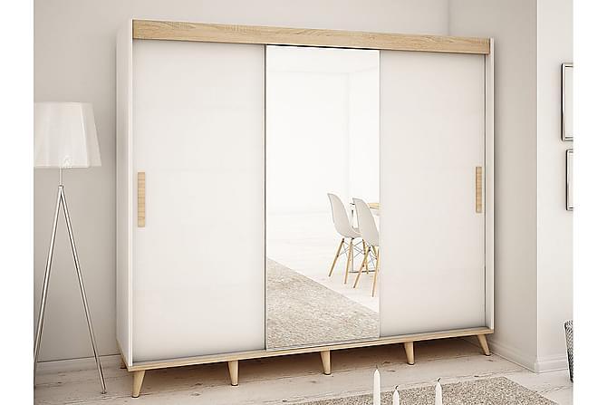SKANDI Garderob 250x62x208 cm - Beige|Vit - Möbler & Inredning - Förvaring - Garderober