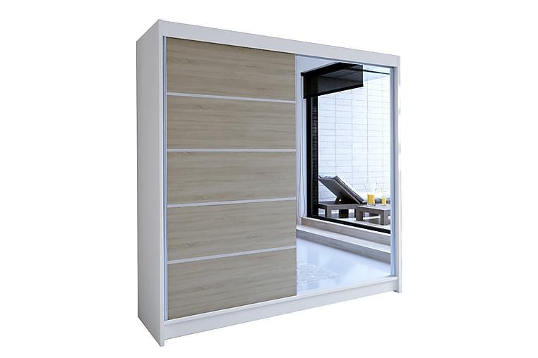 TALIN Garderob 58x180 cm Vit/Ek - Vit/Ek - Möbler & Inredning - Förvaring - Garderober