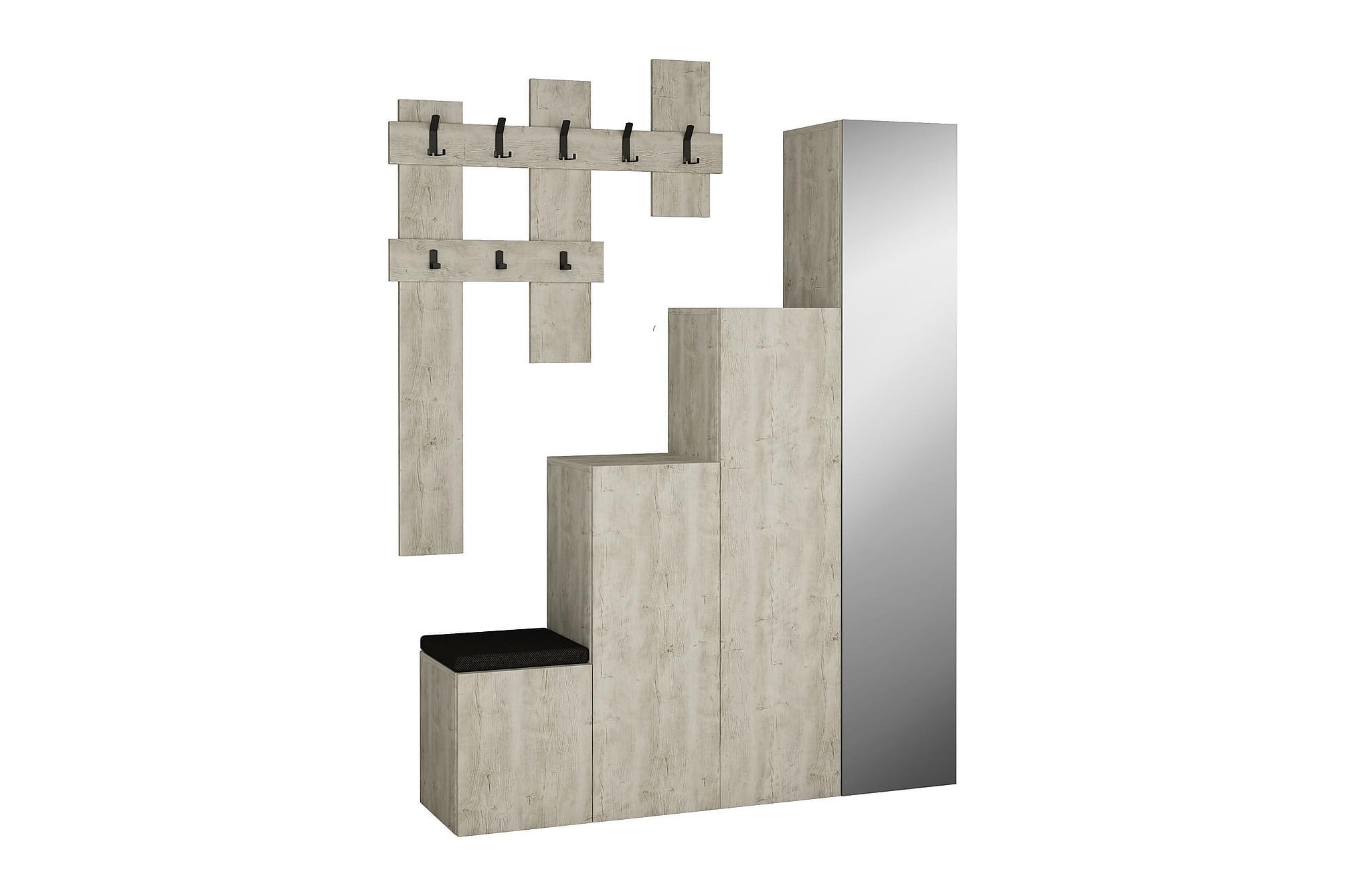 CORALEE Hallförvaring Spegel Beige, Klädförvaringssystem