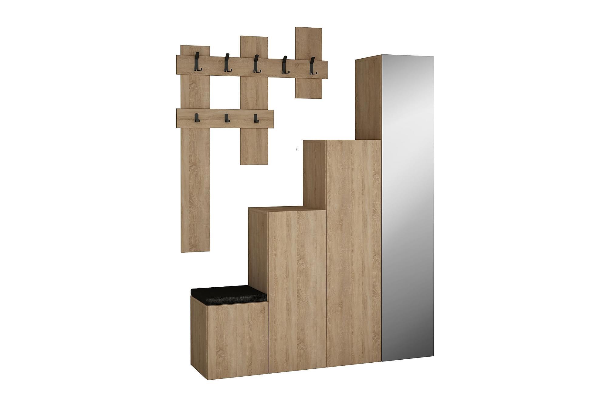 CORALEE Hallförvaring Spegel Trä, Klädförvaringssystem