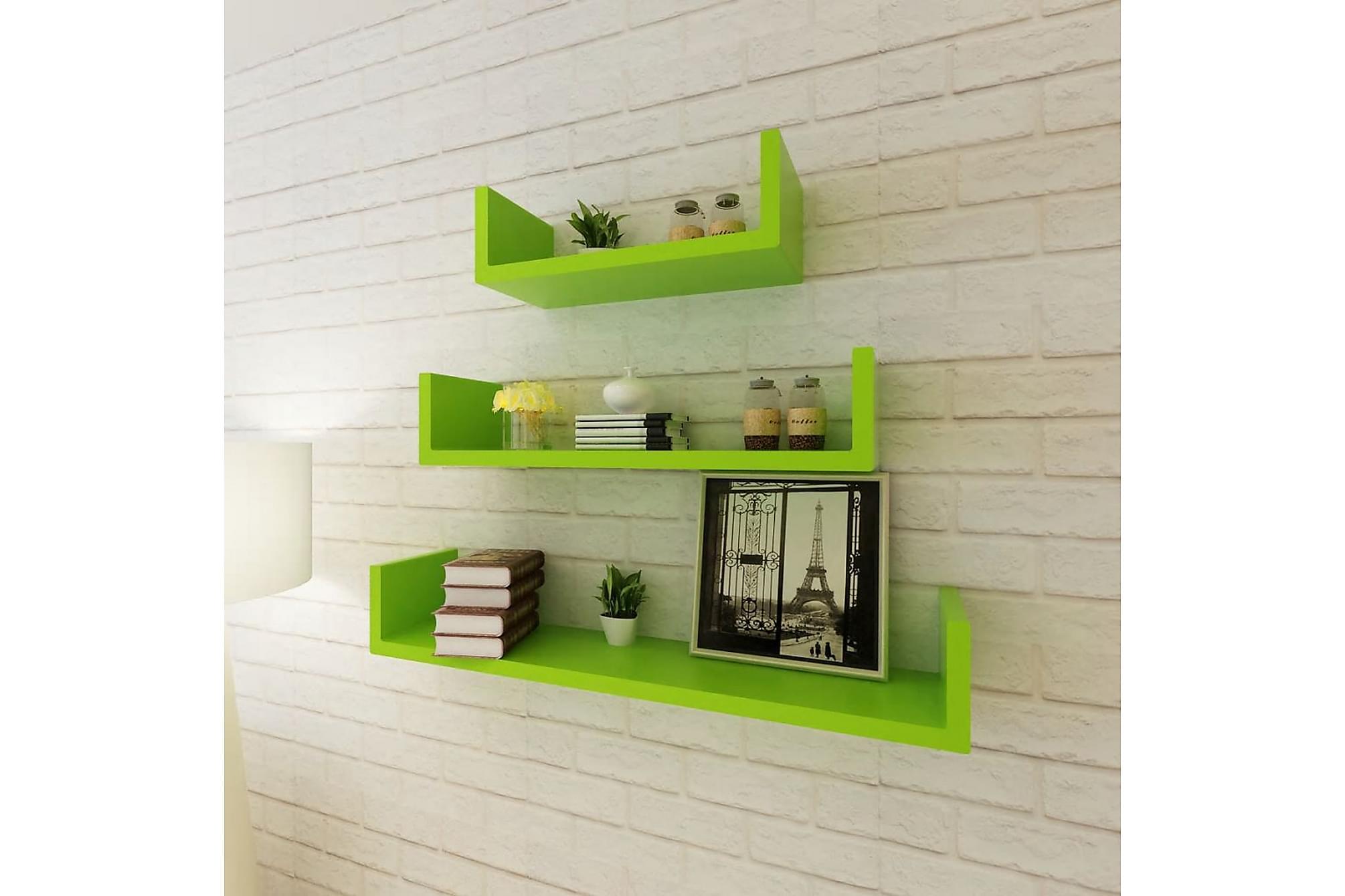 3 Flytande U-formade bok/CD-vägghyllor i MDF grön, Hyllor